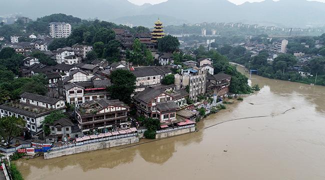 航拍今夏兴发娱乐网页版登录首个洪峰过境 磁器口最高水位达181.7米