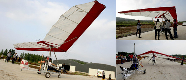 男子自制动力三角翼飞行器