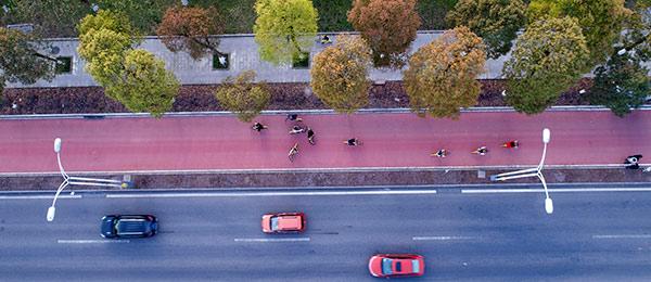 航拍:重慶首條自行車慢車係統建成投用