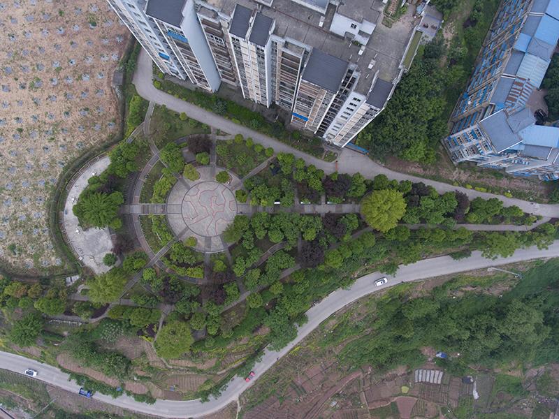 航拍重慶北鬥村社區公園 鬱鬱蔥蔥春意盎然