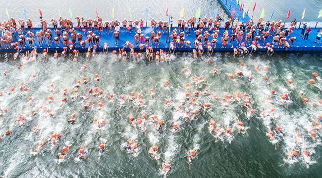 航拍重慶公開水域遊泳賽