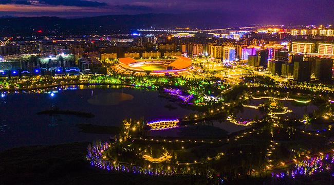 重慶梁平雙桂湖:濕地潤城 夜色璀璨