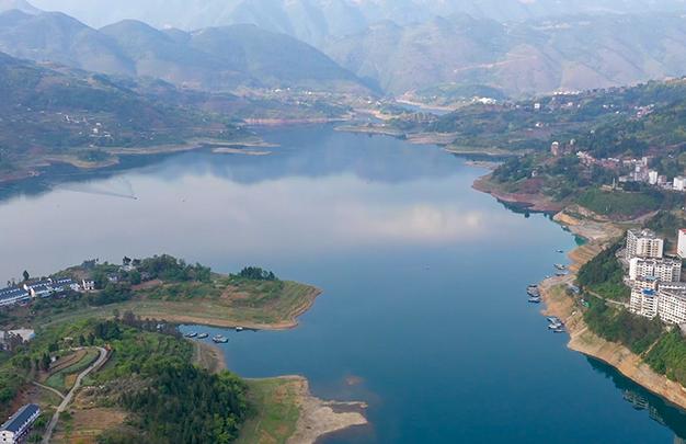 航拍三峽175水位新景觀 五湖碧波通大昌
