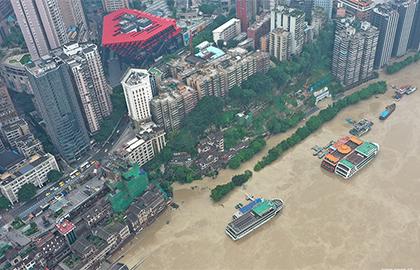 """""""長江2020年第5號洪水""""洪峰正在通過重慶中心城區"""
