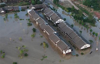 涪江重慶潼南段遇新一輪洪水 雙江古鎮被淹